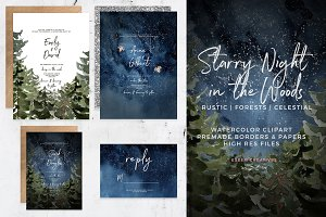 Starry Night Pine Forest Backgrounds