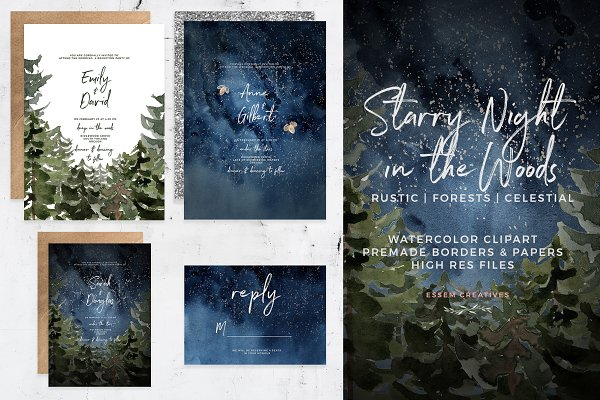 Starry Night Pine Forest Background…