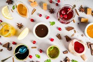 Various sweet sauces