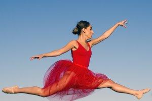 Pretty woman jumping