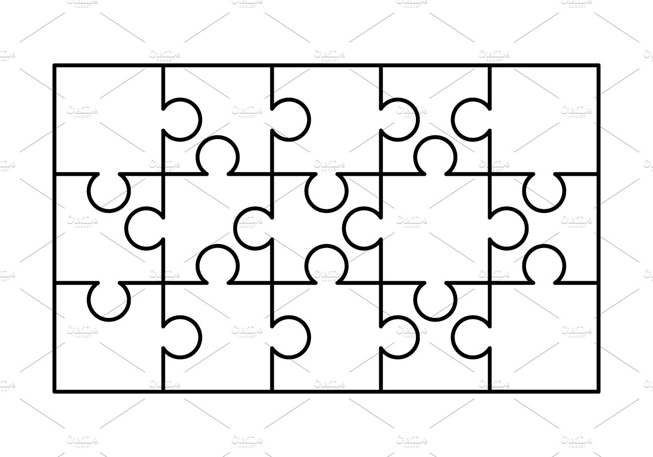 15 white puzzles pieces template ~ Graphic Objects