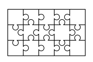 15 white puzzles pieces template