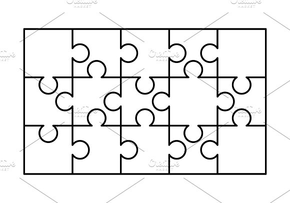 15 white puzzles pieces template graphic objects creative market