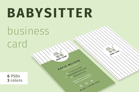 Babysitter business card business card templates creative market babysitter business card business cards wajeb Gallery