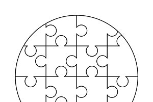 16 white puzzles pieces template
