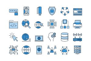 03 Blue INTERNET icons set