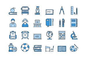 05 Blue SCHOOL EDUCATION icons set