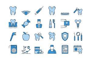 07 Blue DENTAL CARE icons set