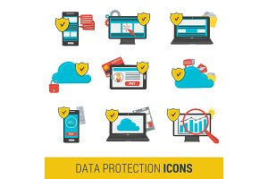 Icon set concept data protection