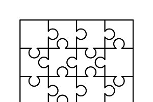 120 white puzzles pieces template graphic objects creative market