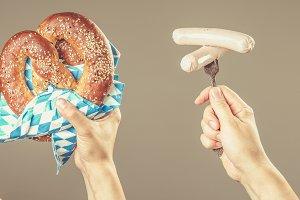 Oktoberfest concept - hands holding