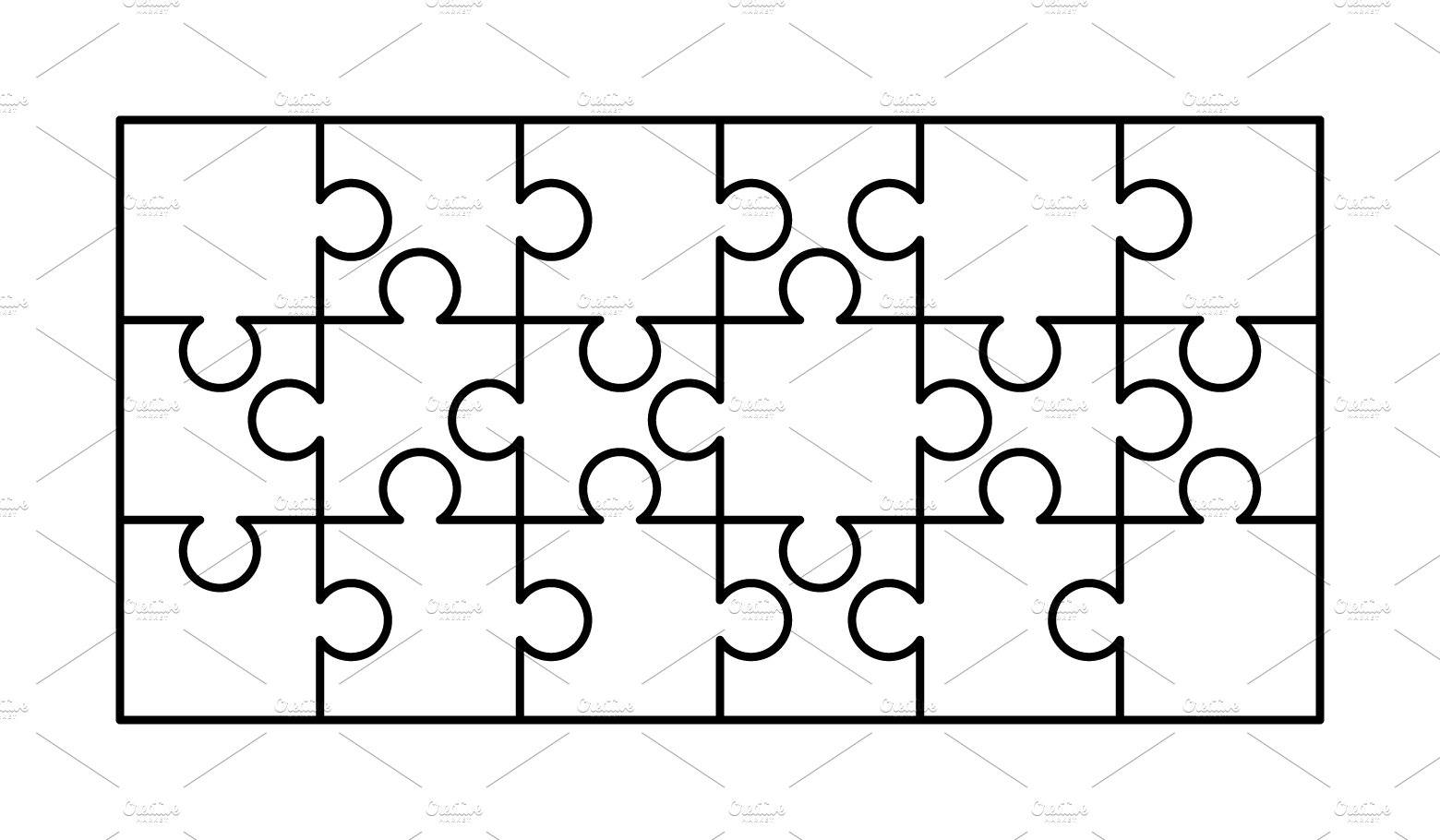 18 white puzzles pieces template ~ Graphic Objects