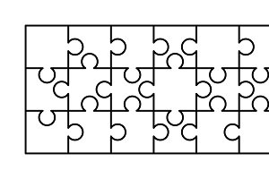 18 white puzzles pieces template