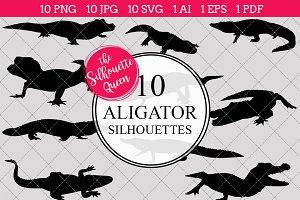 Aligator Silhouette Vector Graphics
