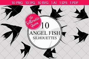 Angel Fish Silhouette Vector Graphic