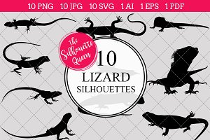lizard Silhouette Vector Graphics