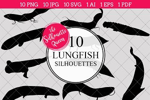 Lungfish Silhouette Vector Graphics