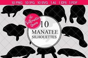 Manatee Silhouette Vector Graphics