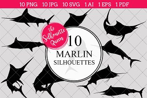 Marlin Silhouette Vector Graphics