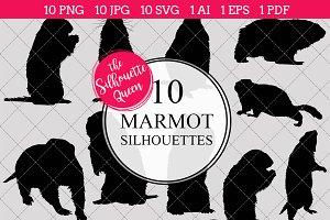Marmot Silhouette Vector Graphics
