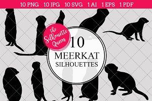 Meerkat Silhouette Vector Graphics