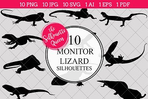 Monitor lizard Silhouette Vector