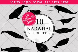 Narwhal Silhouette Vector Graphics