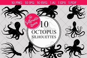 Octopus Silhouette Vector Graphics