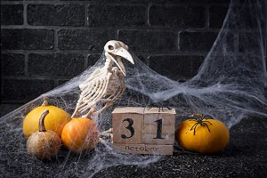 Halloween background with wooden