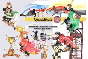 Watercolor Quidditch Illustration