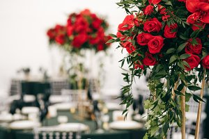 Tall bouquets of roses