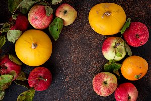 Autumn background with apple and