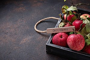 Fresh sweet apple in wooden box