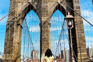 Girl standing in Brooklyn bridge