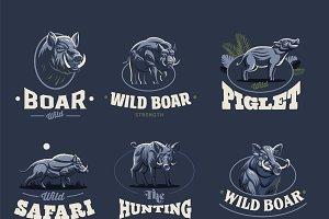 Set of vintage wild boar emblems.