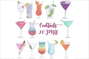 Hand Drawn Watercolor Cocktails