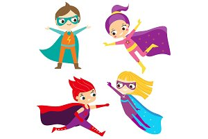 Superhero kids. Children in costumes