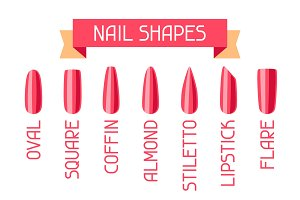 Acrylic nail shapes set.
