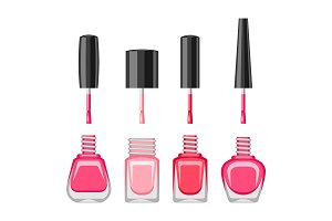 Set of bottles with nail polish.