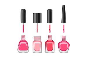 Set of bottles with nail polish.