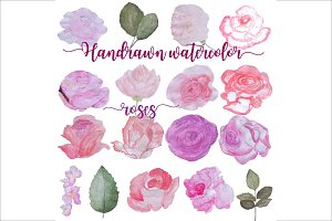 Hand Drawn Watercolor Roses Clipart