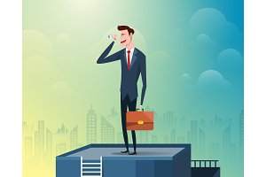 Businessman standing at the top of