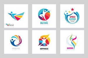 Positive Human. Abstract People Logo