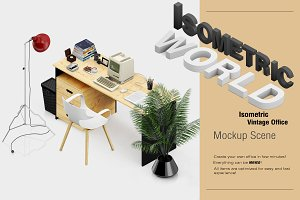 Isometric Vintage Office Mockup