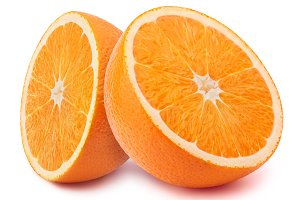 Halfs of orange isolated