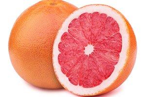 Grapefruits isolated on white