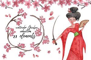 Geishas watercolor clip set!