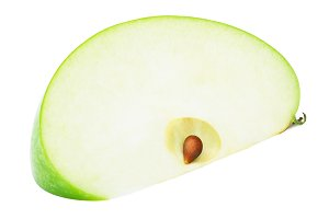 Fresh green apple slice isolated on