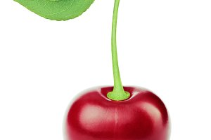 Fresh cherry with leaf isolated on