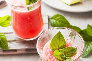 Fresh watermelon smoothie with mint